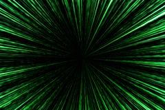 Digital zieleni gwiazdy wybuchu matryca wytwarzająca w czarnym tle, t Obrazy Stock