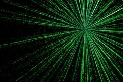 Digital zieleni gwiazdy wybuchu matryca wytwarzająca w czarnym tle, t Zdjęcie Stock