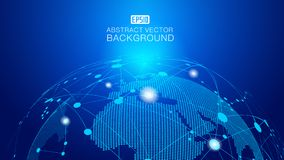 Digital ziemia i kropkujący linii połączenia nauka i technika rozjarzony ziemski tło, błękitni technologia skutka wektoru element Obraz Stock