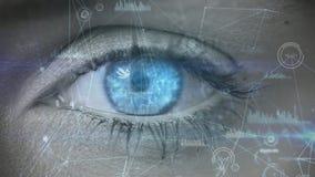 Digital-Zusammensetzung eines Frauenauges, welches die blockchain Technologie betrachtet lizenzfreie abbildung