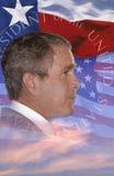 Digital-Zusammensetzung: Präsident George W Bush und amerikanische Flagge Stockbild