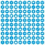 100 digitala blått för marknadsföringssymbolsuppsättning stock illustrationer