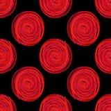 digitala cirklar röra sig i spiral den röda sömlösa modellen på svart bakgrund royaltyfri illustrationer