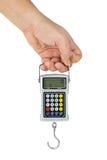 digitala scales för fishhookhandhåll Arkivbild
