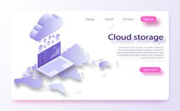 Digitala teknologier Utbyte av information mellan datoren och molnet Bärbara datorn i nedladdningar sparar in i molnlagringen stock illustrationer
