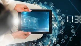Digitale animatie die van vrouw digitale tablet houden die digitale interface tonen stock footage