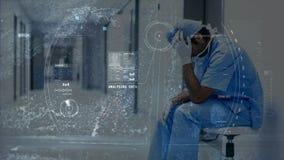 Digitale animatie van beklemtoonde artsenzitting in de het ziekenhuisgang stock video