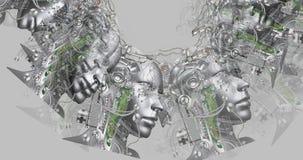 Digitale animatie van cyborghoofden vector illustratie