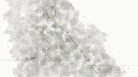 Digitale Animatie van een artistieke die Schets, op een zelf-gecreeerde 3D Illustratie van een vrouwelijke Cyborg wordt gebaseerd stock video