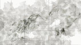 Digitale Animatie van een artistieke die Schets, op een zelf-gecreeerde 3D Illustratie van een Wijfje wordt gebaseerd stock videobeelden