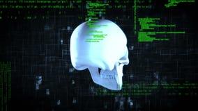Digitale animatie van een roterende schedel stock illustratie