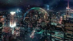 Digitale animatie van Globaal bedrijfshologram Holografische het teruggeven Aarde, tegen de achtergrond van wolkenkrabbers stock videobeelden