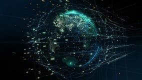 Digitale animatie van Globaal wereldhologram Holografische het teruggeven Aarde illustratie van bedrijfsprocessen en stock videobeelden