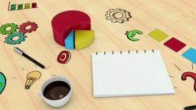 Digitale animatie van grafiek en notitieboekje vector illustratie