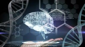 Digitale animatie van hersenen en DNA-schroef vector illustratie