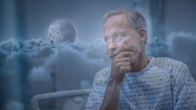 Digitale animatie van hogere patiënt in het ziekenhuis stock video