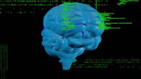 Digitale animatie van roterende hersenen royalty-vrije illustratie