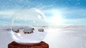 Digitale animatie van verlichte hutten tegen sneeuwlandschap stock video