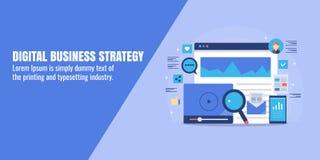 Digitale bedrijfsstrategie, marketing technologie, seo, sociale media, mobiel reclameconcept Vlakke ontwerp vectorbanner vector illustratie
