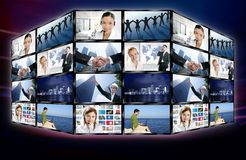 Digitale Bildschirmwand der futuristischen Fernsehvideonachrichten Lizenzfreie Stockfotos