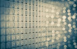 1-0 digitale Binaire code, Analoge lampen, het scherm Stock Afbeeldingen