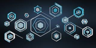 Digitale blaue Wiedergabe der Schnittstelle 3D des Antivirus Stockfotos
