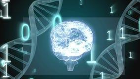 Digitale bol met DNA-schroef stock footage