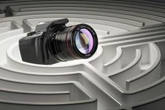 Digitale camera binnen labyrintlabyrint het 3d teruggeven Stock Afbeelding
