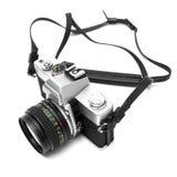 Digitale camera die op witte achtergrond DSLR wordt geïsoleerdd Stock Foto's