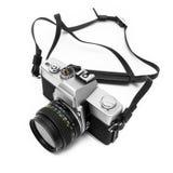 Digitale camera die op witte achtergrond DSLR wordt geïsoleerdd Stock Foto