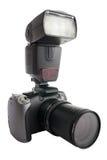 Digitale camera met gezoemvat en flits Royalty-vrije Stock Foto's