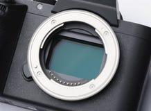 Digitale camera 35mm volledige kader ccd sensor en lens zet close-up op Royalty-vrije Stock Afbeelding