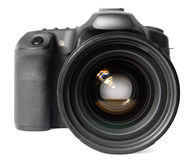 Digitale Camera SLR. Vooraanzicht. stock afbeelding