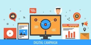 Digitale campagne, Internet-marketing, e-mail, video, sociaal media marketing en optimaliseringsconcept Vlakke ontwerp vectorbann Stock Afbeelding