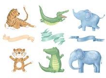 Digitale Clipartkatze des Krokodiltigerelefanten mit Bändern nettes Tier und Blumen für Karte, Poster, auf Weiß stock abbildung