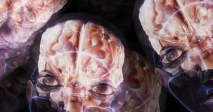 Digitale 3D animatie van menselijke hersenen royalty-vrije illustratie