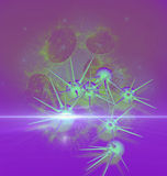Digitale 3d illustratie van kankercellen in menselijk lichaam Stock Afbeelding