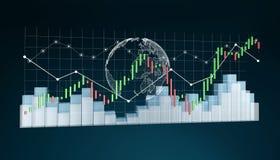 Digitale 3D teruggegeven beurs stats en grafieken Royalty-vrije Stock Fotografie