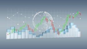 Digitale 3D teruggegeven beurs stats en grafieken Royalty-vrije Stock Afbeeldingen