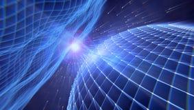 Digitale 3d wereld in een instortend heelal, het 3d teruggeven vector illustratie