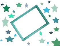 Digitale Datei des Modells mit vielen bunten Sternen und Holzrahmen in der Mitte mit freiem leerem Kopienraum f?r Text oder Grafi lizenzfreie abbildung