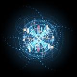 Digitale de communicatie technologie van achtergrond Internet computerkring, telecommunicatie vector illustratie