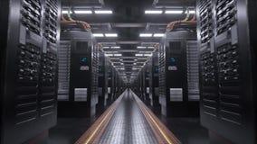 Digitale de lijnachtergrond van de serverruimte stock footage