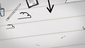 Digitale die animatie van businessplan op notitieboekje wordt getrokken stock video