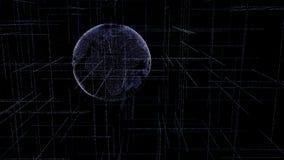 Digitale die bol van vlecht heldere gloeiende lijnen wordt gemaakt Gedetailleerde virtuele aarde Technologiestructuur van verbond royalty-vrije stock foto