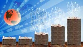 Digitale die boom op fysiek geld is gegroeid stock illustratie