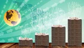 Digitale die boom op fysiek geld is gegroeid vector illustratie