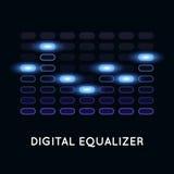 Digitale donkere equaliser met blauw licht Royalty-vrije Stock Afbeeldingen