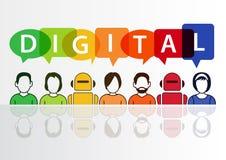 Digitale en digitaliserings conceptuele achtergrond Vectorillustratie van kleurrijke groep mensen en robots Royalty-vrije Stock Afbeeldingen