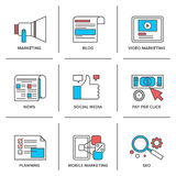 Digitale en sociale media die geplaatste lijnpictogrammen op de markt brengen royalty-vrije illustratie